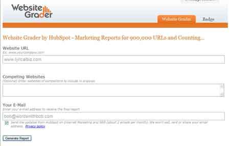 Website Grader home page image