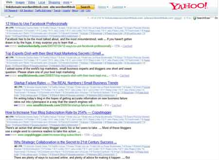 Yahoo Link Search report for WordsmithBob.com image